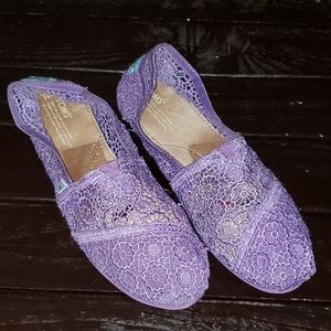 TOMS Purple Mesh Slip On Flats